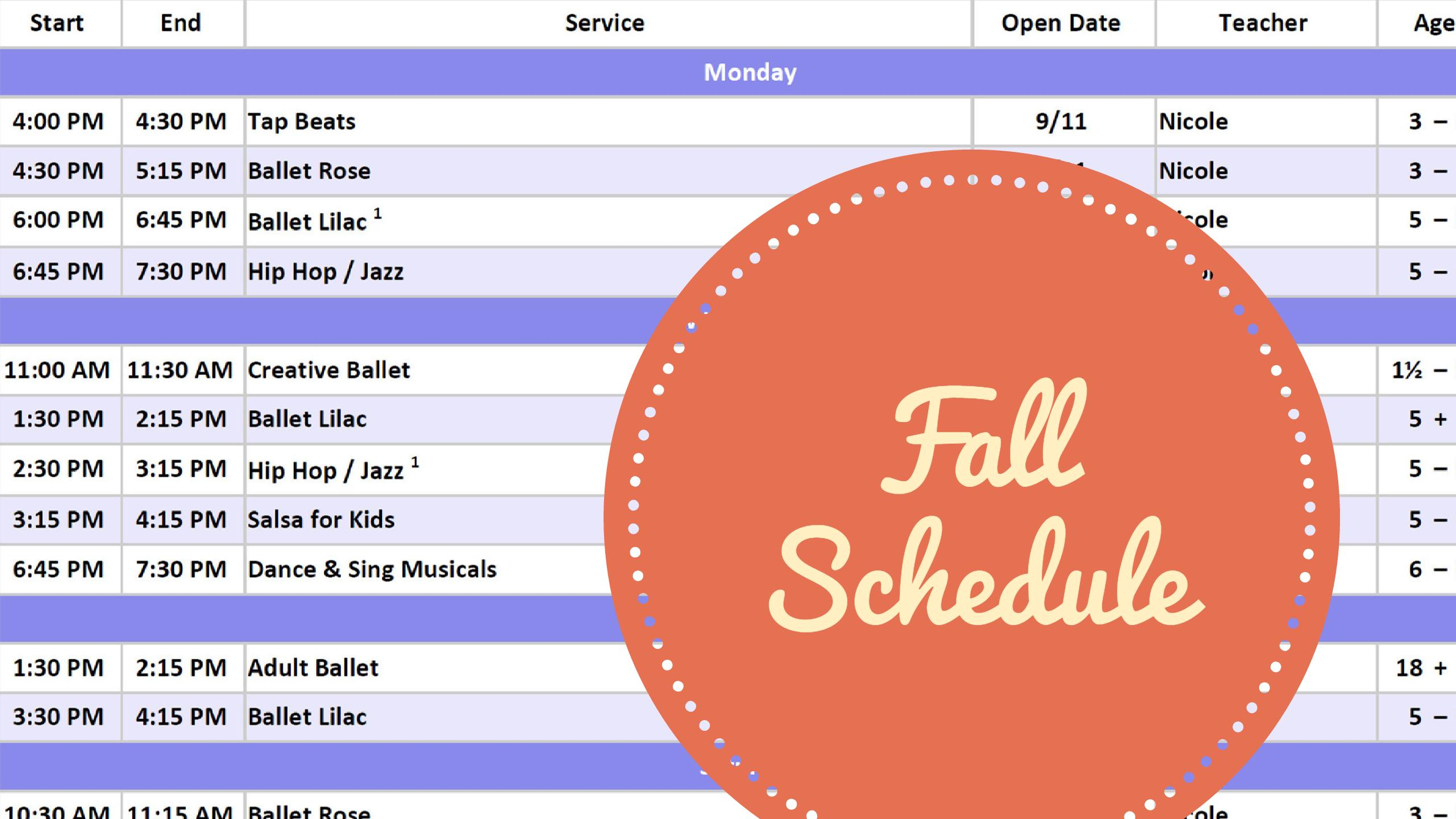 Our Fall Calendar is Published