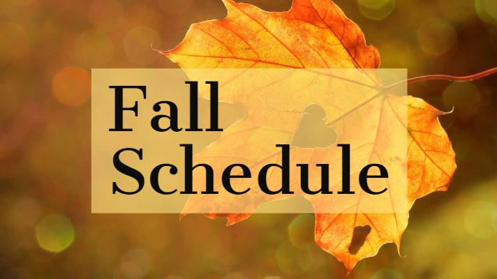 Fall Schedule 2018